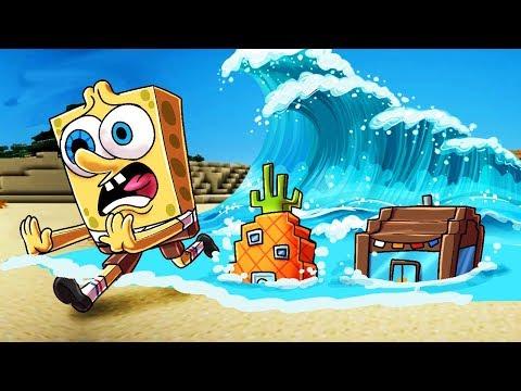 Minecraft | TSUNAMI VS SPONGEBOB BASE! (Tsunami Bikini Boottom Challenge)