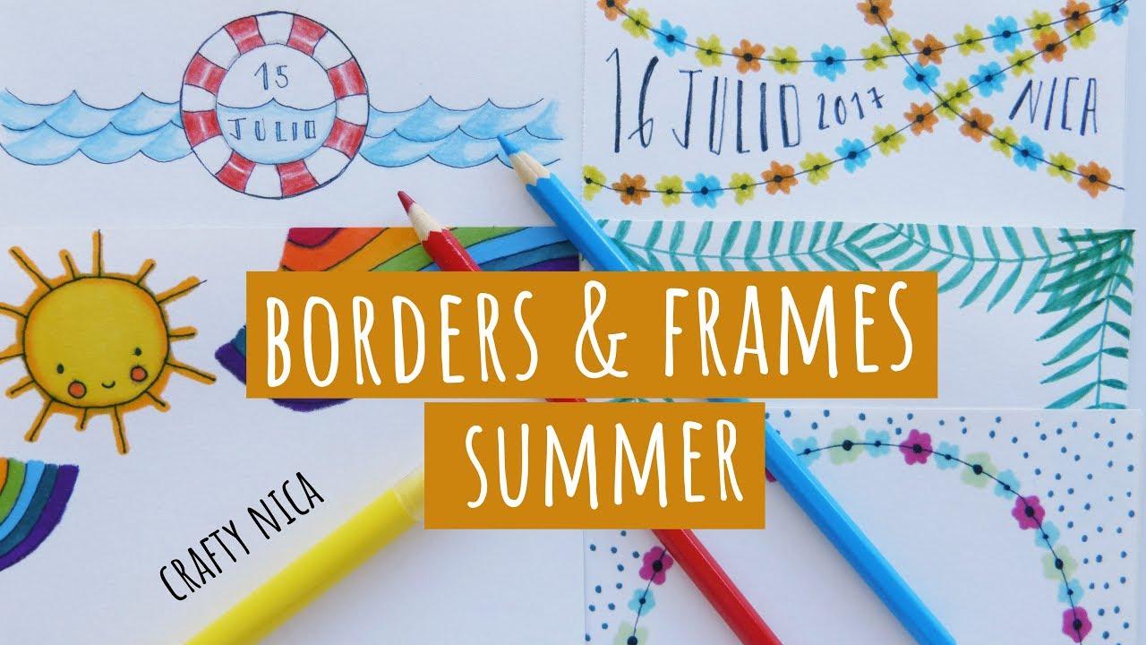 SUMMER-INSPIRED BORDERS & FRAMES DESIGNS. Summer doodles for cards ...