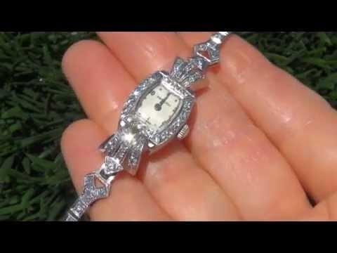 Estate VINTAGE Antique Hamilton Ladies Platinum VS Diamond Art Deco Wrist Watch