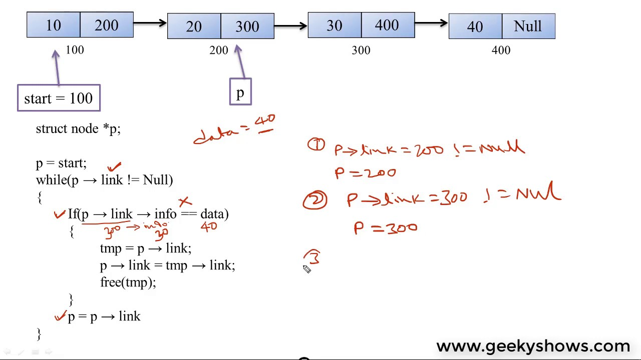 deletion of last node in singly linked list hindi youtube