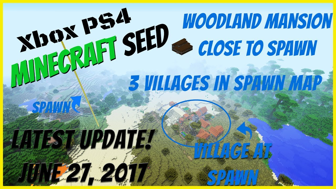 Minecraft Console Village Spawn Seed Woodland Mansion Update Large