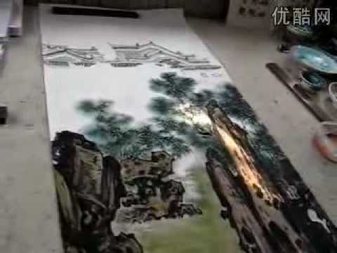 Traditional Chinese Landscape Pinetree + Rock Painting