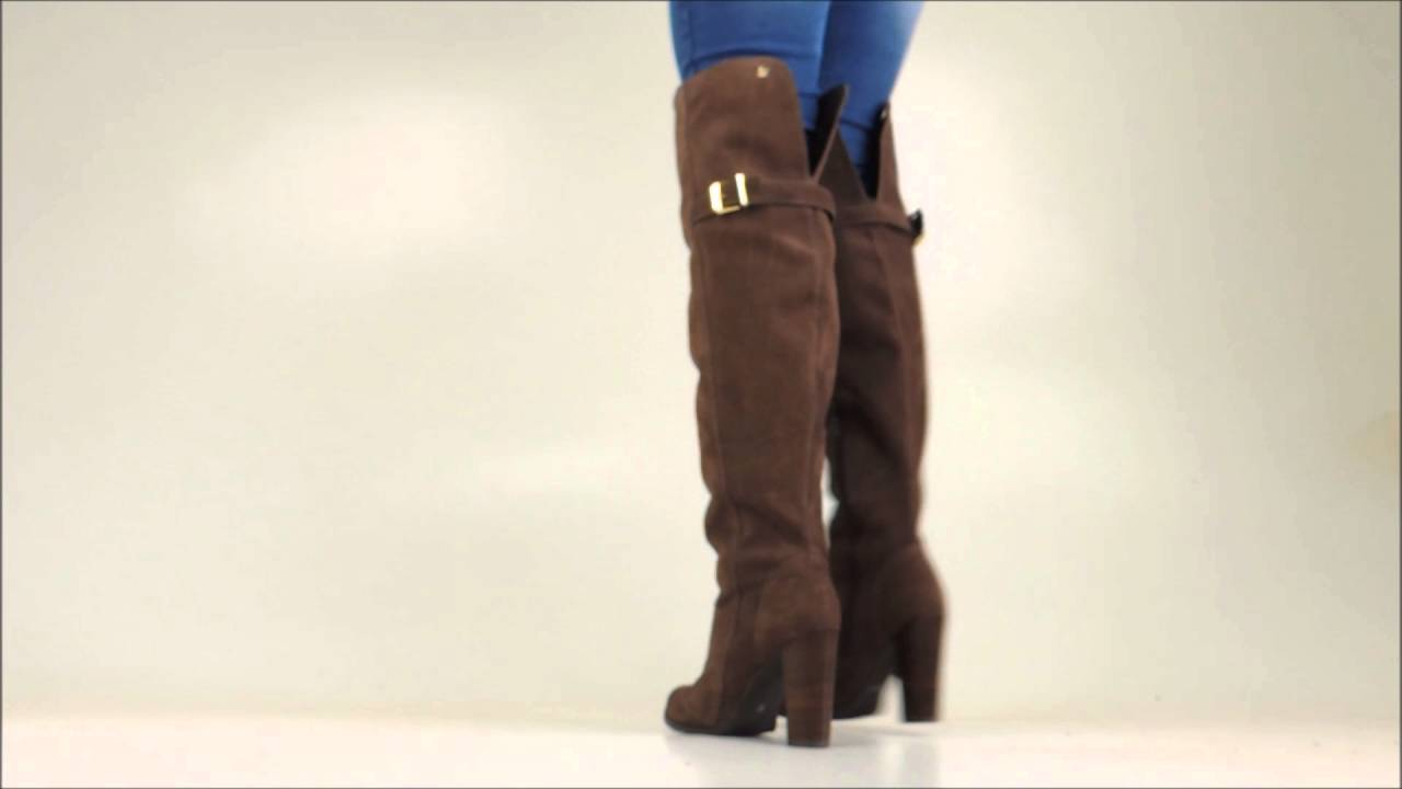 1b66c2657d Bota Feminina Over Knee Fiero Ref. 1306 - Camurça Marrom - YouTube