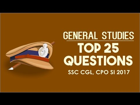 SSC CGL CPO SI 2017 | General Studies | Top 25 Questions | Online SSC CGL CPO SI Coaching