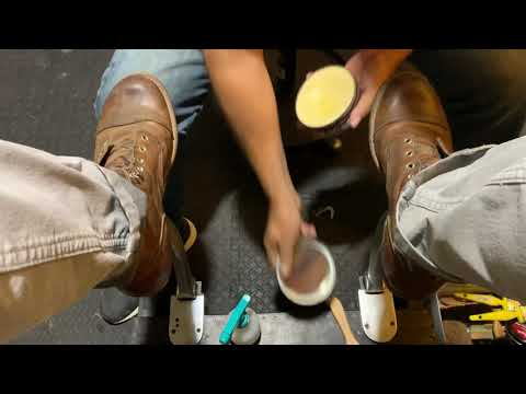 Shoe Shine ASMR, Red Wings IRON RANGERS Clean And Leather Conditioner