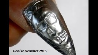 3 D     Silver Skull Nail -------------------Using OPI Push & Shove