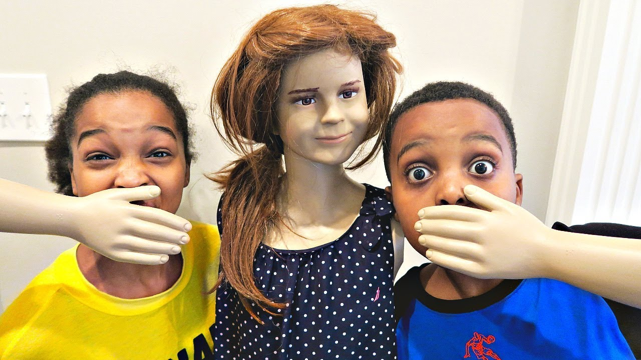 Bad Baby Mannequin ATTACKS - Shasha and Shiloh Creepy Stalker