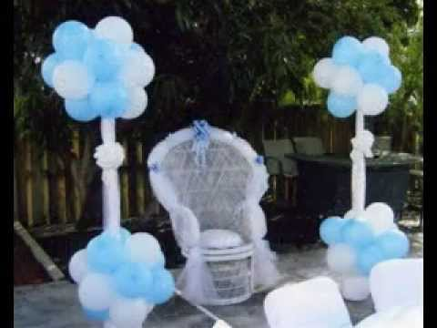 Diy baby shower chair decorations ideas youtube for Baby shower decoration ideas homemade