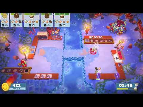 Overcooked 2 Seasonal Content (Kevin's Christmas Cracker) Level 1-5 Gameplay 4 star (2 player co-op) |
