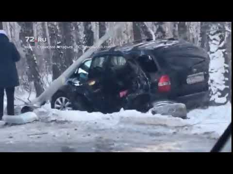 Водитель Acura снес столб