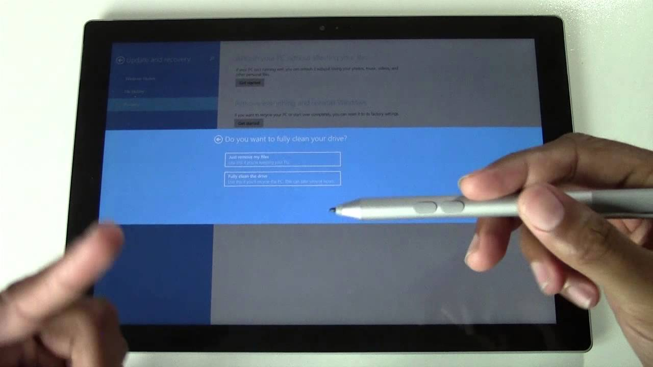 factory reset surface pro 4 without password