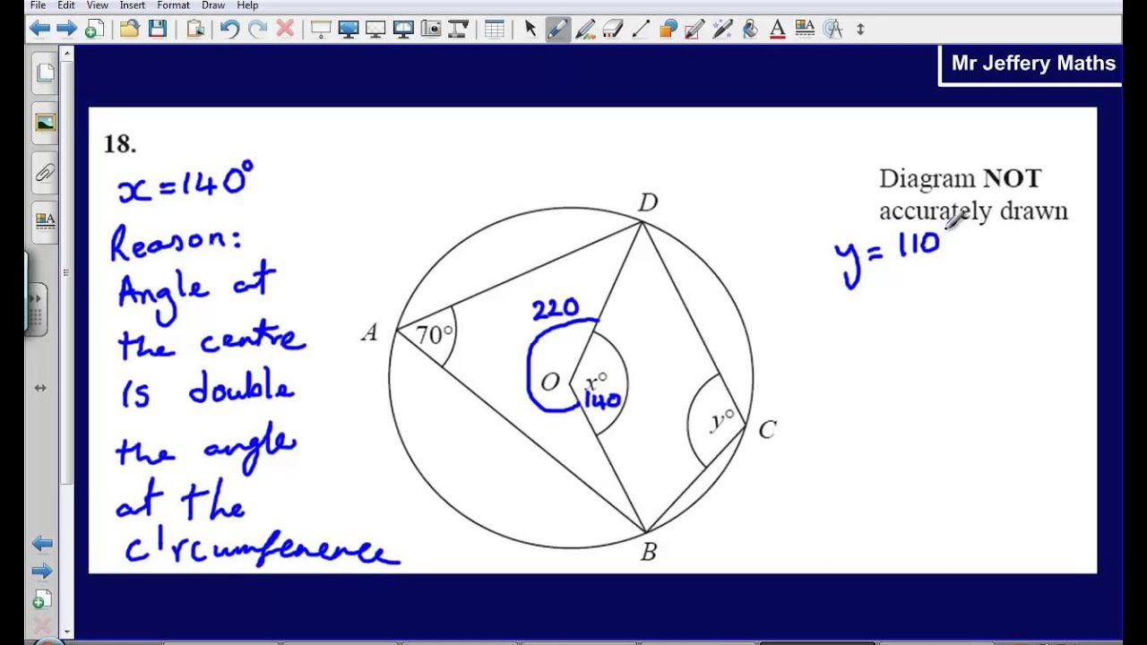 Circle Theorems Question 18 Edexcel Gcse Maths 2008 Non Calculator