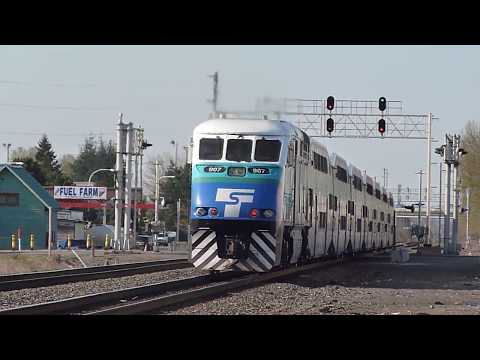 Sounder commuter train departs Auburn, WA for Seattle