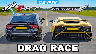 Lamborghini Aventador vs 700hp Audi RS7 - DRAG RACE