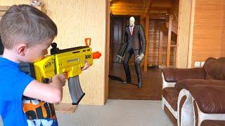 NerfWar Slenderman Invasion Нерф игра Вторжение Слендермана