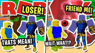 NOOB DISGUISE TROLLING!! FAKE THANOS IS HUGE BULLY THEN SEES KRAKEN IN ROBLOX BUBBLEGUM SIMULATOR!!