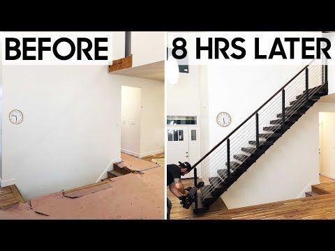 One Day Floating Stairs Install Guess How Much These Cost Youtube | Wooden Staircases For Sale | Cheap | Steel | Landing | House | New Model