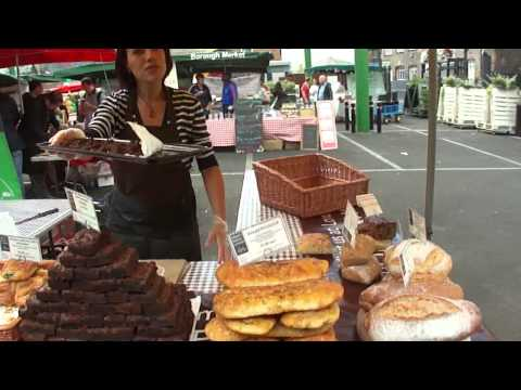 Walking around Borough Food Market on a Sunday, London, Engl