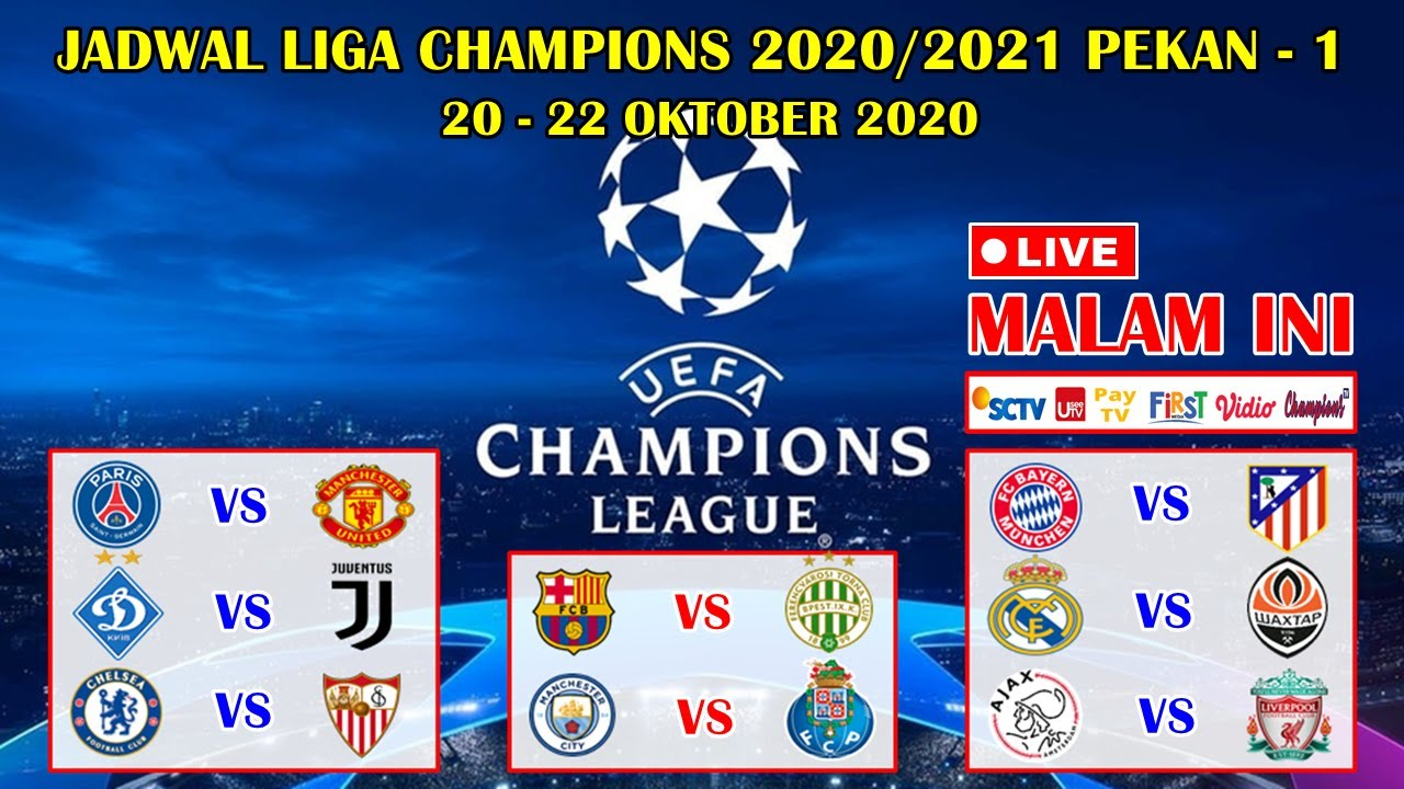 Jadwal Liga Champions Malam Ini Live Sctv Psg Vs Manchester United Uefa Champions League 2020 2021 Youtube