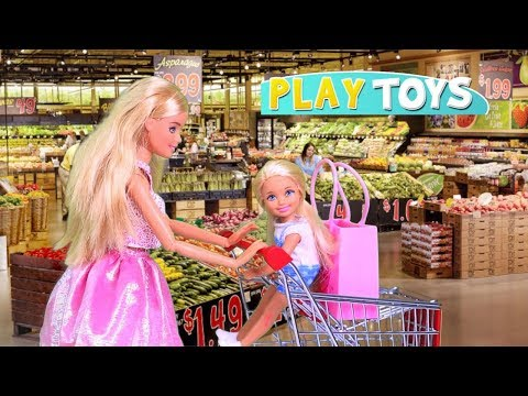 Barbie Doll Supermarket Shopping Chelsea Ba Dolls! Play Barbie Girl Grocery Shop toys! Play Dolls!
