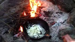 Campfire cooking chicken egg fried rice