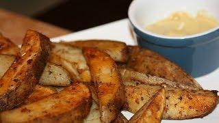 Oven Baked Potato Wedges Recipe - Recette Quartiers De Pommes De Terre Au Four - Recettes Maroc