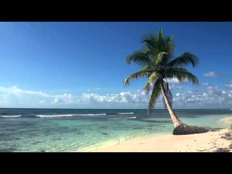♥♥ Relaxing 3 Hour Video of Tropical Beach with Blue Sky Whi