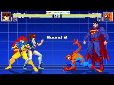Superman And Spider-Man VS Kasumi And Jean Grey In A MUGEN Match / Battle / Fight