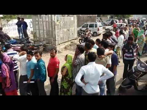 People Lines in Agra for changing money