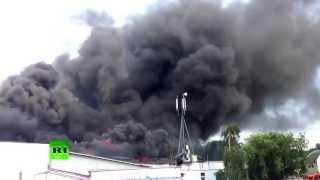 Сильный пожар на востоке Москвы (ВИДЕО)