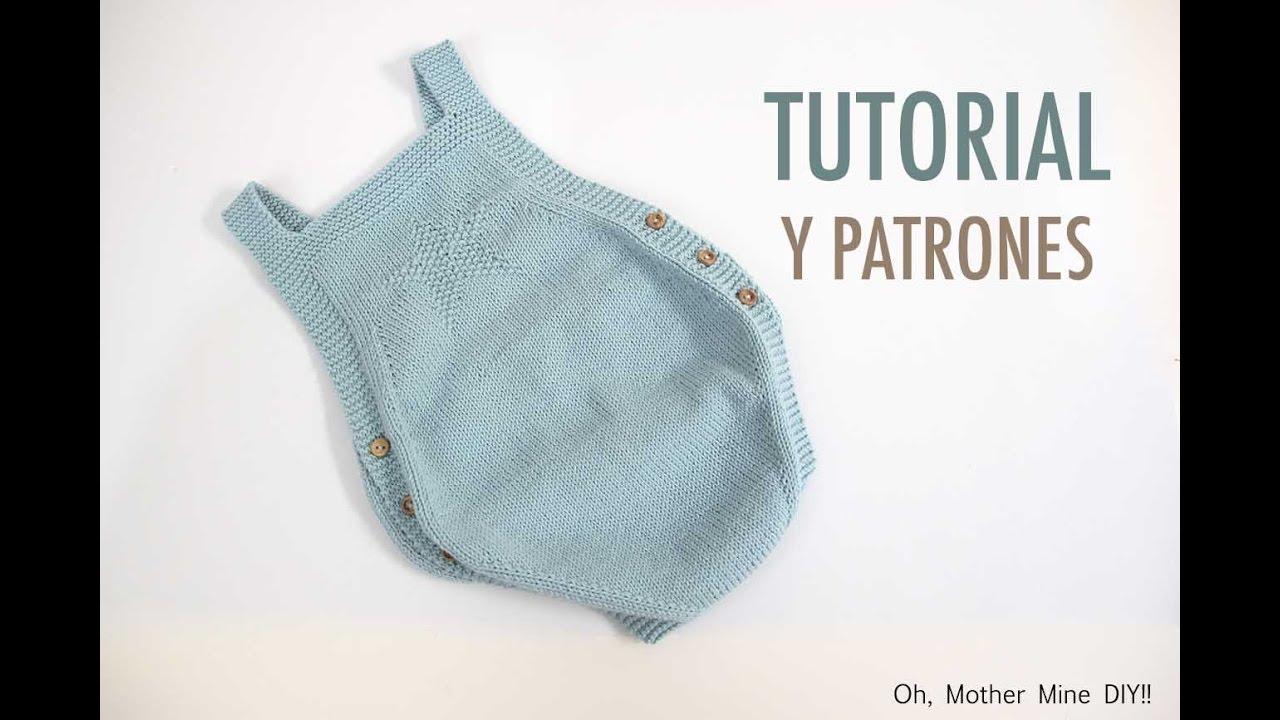 DIY Como hacer pelele de bebe tejido con dos agujas - YouTube
