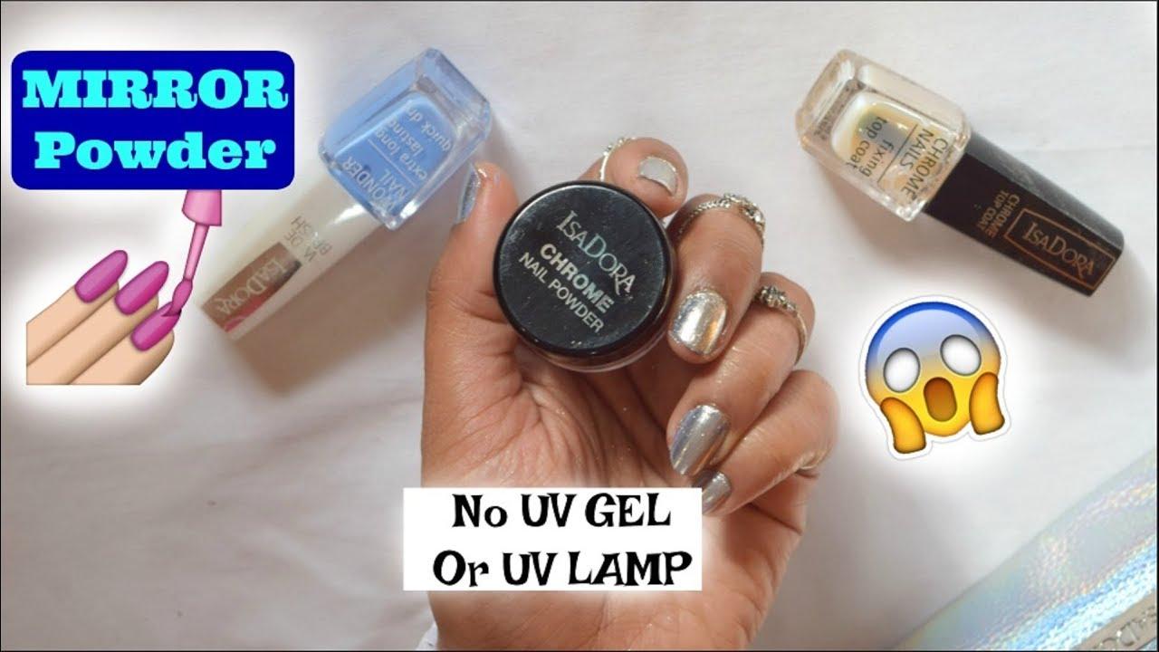 MIRROR Powder CHROME NAILS with No UV Gel or UV LAMP| DIY ...