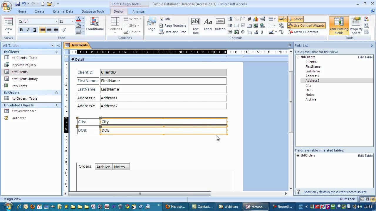 Adding a new Field to a Table and Form in Microsoft Access