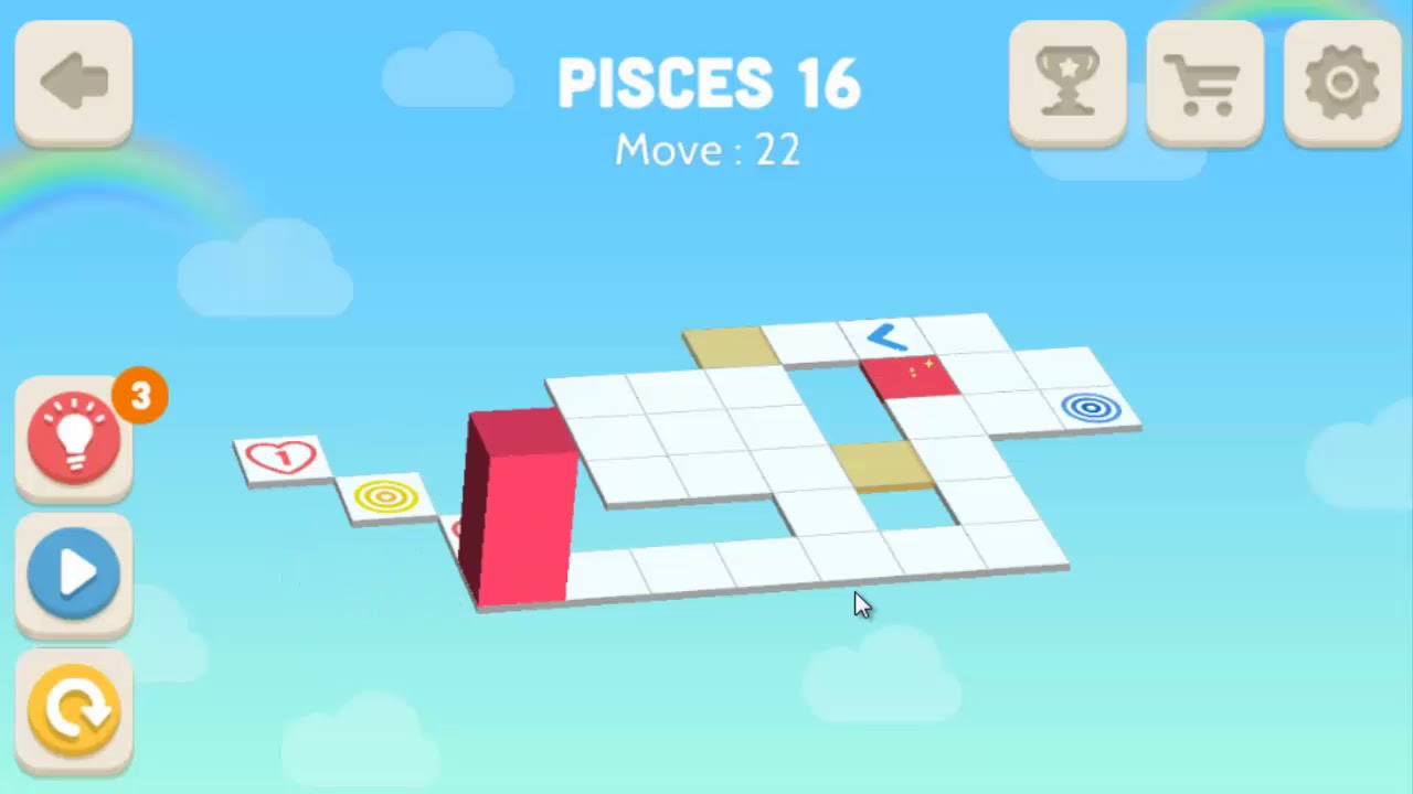 Bloxorz: Roll the Block Pisces Level 16   3 Stars Solution Guide