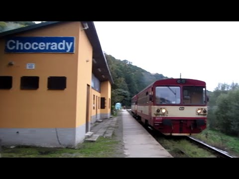Czech Republic: Class 810 Diesel railcar & trailer leave Chocerady,Benešov District, Central Bohemia