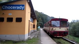 Czech Republic: Class 810 Diesel railcar & trailer leave Chocerady,Benešov District, Central Bohemia