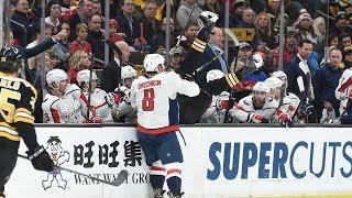 Capitals captain Alex Ovechkin lines up Bruins defenseman Zdeno Cha...