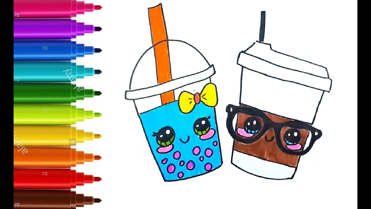 This is an image of Bewitching Boba Tea Drawing