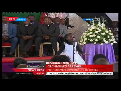 Six year old girl moves  crowd with a tribute poem to the late Governor Gachagua