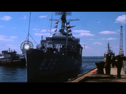 People cheer at a shipyard in Newport, Rhode Island as Desron 20 returns from Vie...HD Stock Footage