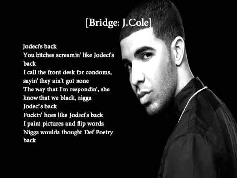 Drake - Jodeci (Freestyle) ft. J. Cole Lyrics on Screen