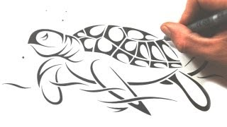 How to Draw a Sea Turtle - Tribal Tattoo Design Style