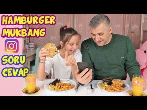 HAMBURGER MUKBANG | INSTAGRAM SORU CEVAP | BEYİN YAKAN KOMİK SORULAR - Eğlenceli Çocuk Videosu