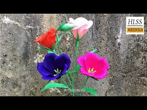 Com fer lisianthus paper flor fàcil  DIY origami Lisianthus crêpe paper flor fer tutorials