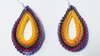 make quilling paper earrings design -  hand made Earrings Making Tutorial