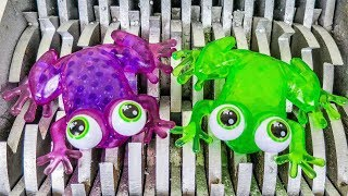 Frog Eggs Shredded! Squishy Frog and Animal Toys Destroyed! Whats Inside Slime Water Bath Toys?