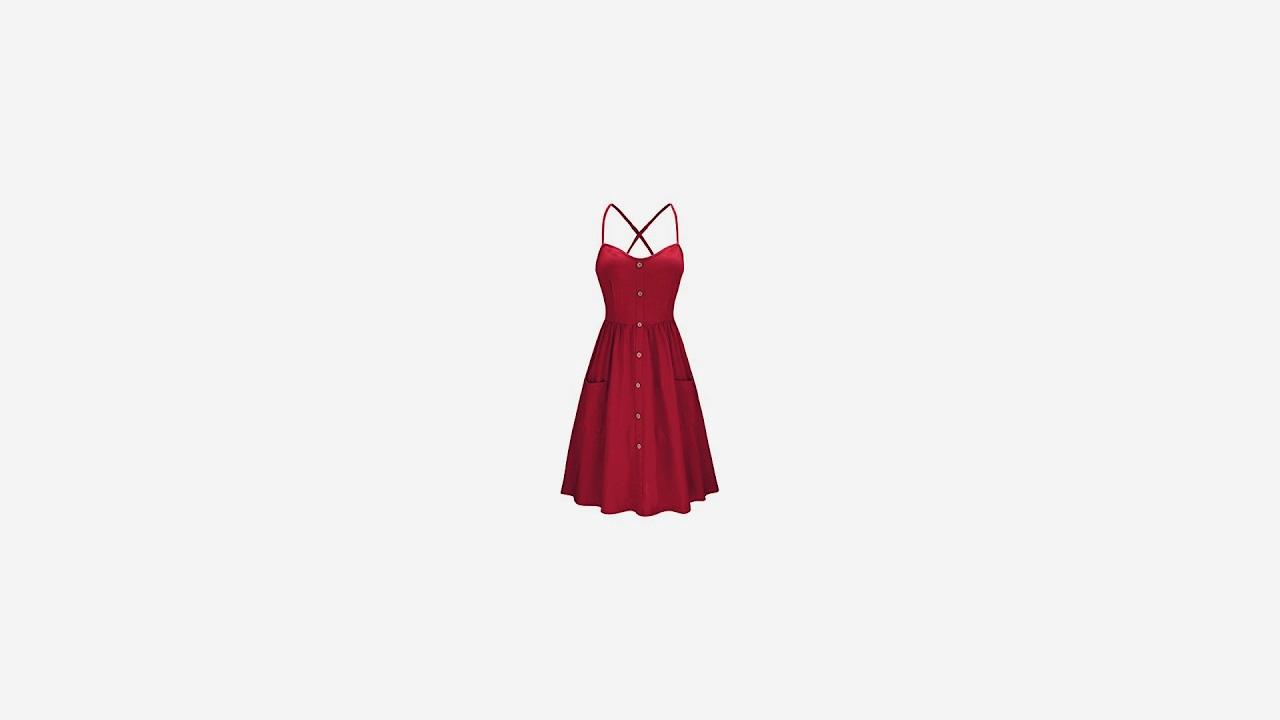 20130a9c1b40 KILIG Women s Summer Dress Spaghetti Strap Button Down Sundress with  Pockets(Wine