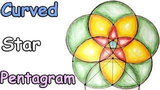 How to draw Curved Star Pentagram Pattern tutorial - Basic Mandala & Sacred Geometry Video HD