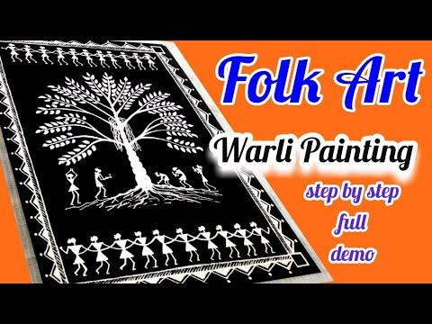 Folk Art Painting | Warli Art | Warli Painting step by step DIY | Tribal Art | Folk Art Design | DIY