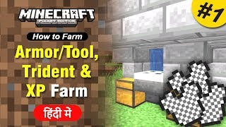 #1 Armor/Tool, Trident & Drowned XP Farm - [How to Farm] Minecraft PE | in Hindi | BlackClue Gaming